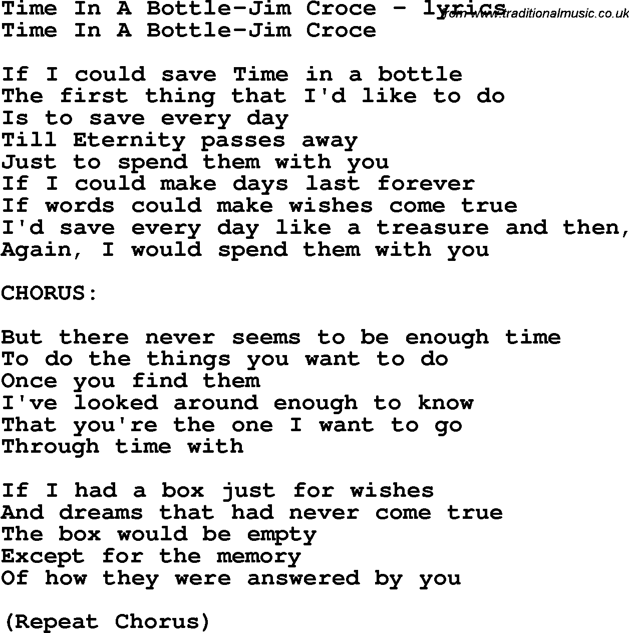 Time in a bottle chords and lyrics