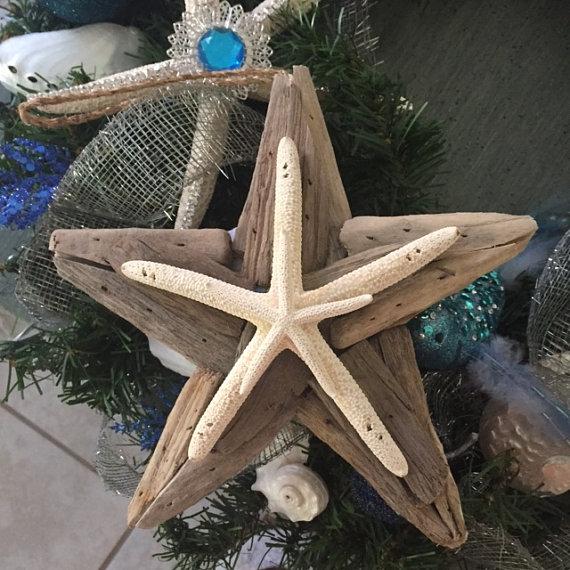 Beach Decor Driftwood  Starfish Ornament - Christmas Ornament