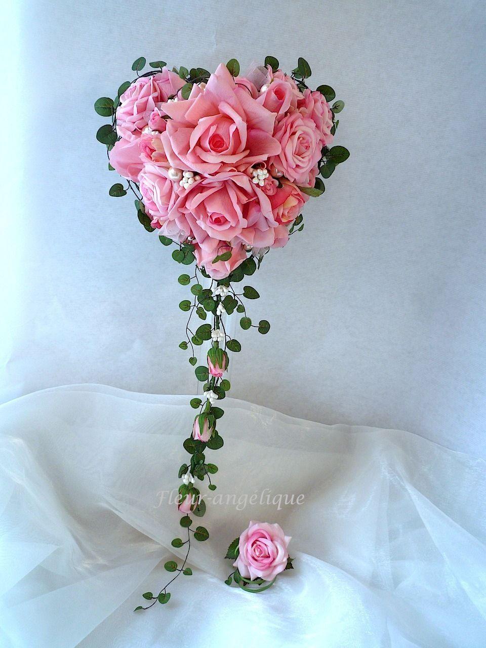 Bouquet de mari e rose la forme de coeur perle rose fleur artificielle pour mariage autres - Bouquet de roses en forme de coeur ...