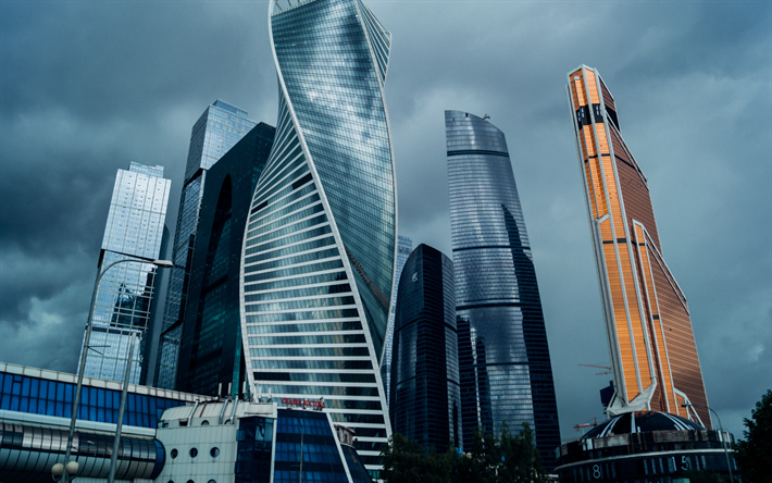 Download Wallpapers Moscow City Business Centers Skyscrapers Russia Modern Architecture