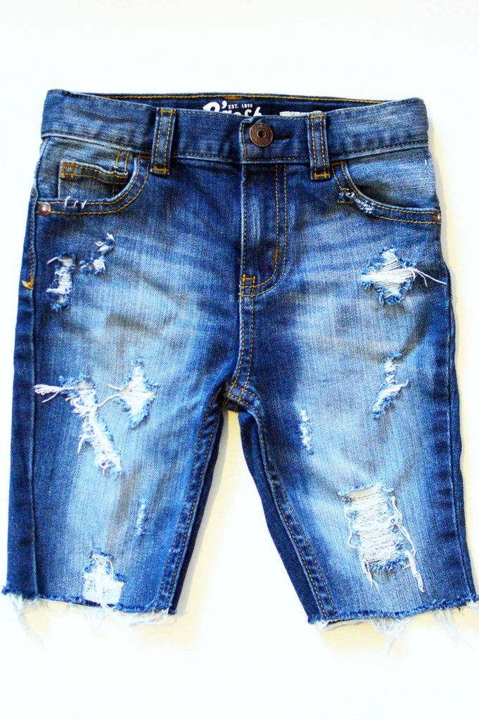 83f4faae65 These knee length boy ripped jean shorts have been distressed to ...