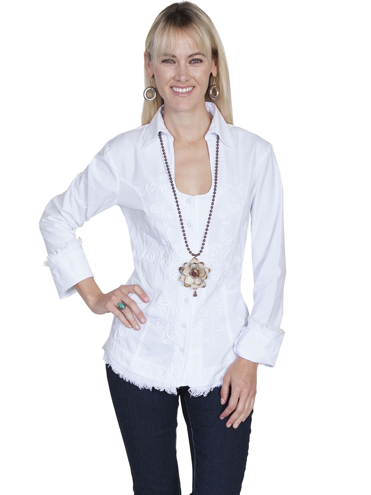 527d514b46 Scully Cantina Womens White 100% Cotton L S Frayed Edges Blouse ...