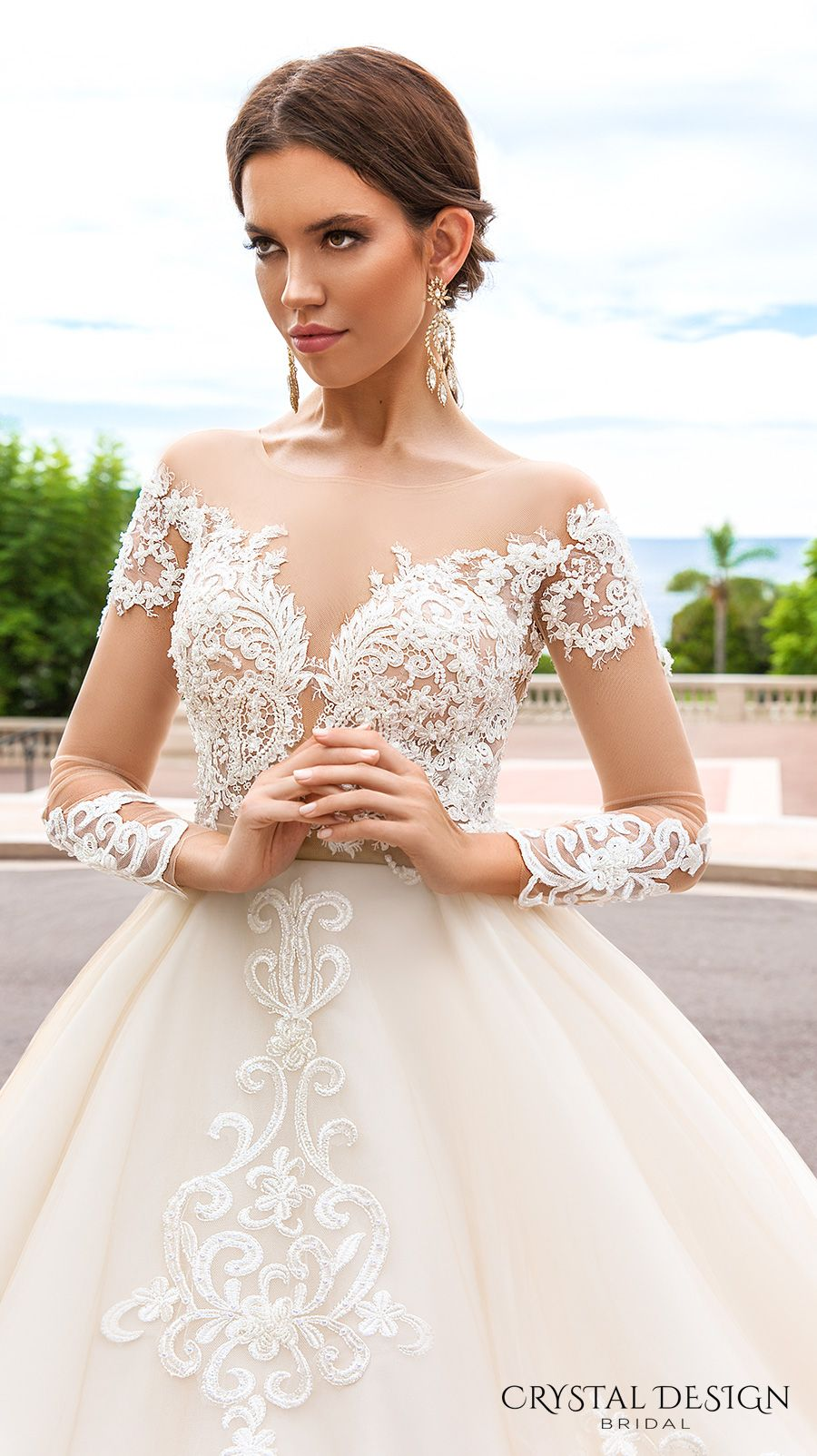 crystal design 2017 bridal long sleeves off the shoulder deep sweetheart neckline heavily embellished bodice elegant princess a  line wedding dress keyhole back royal train (ellery) zv
