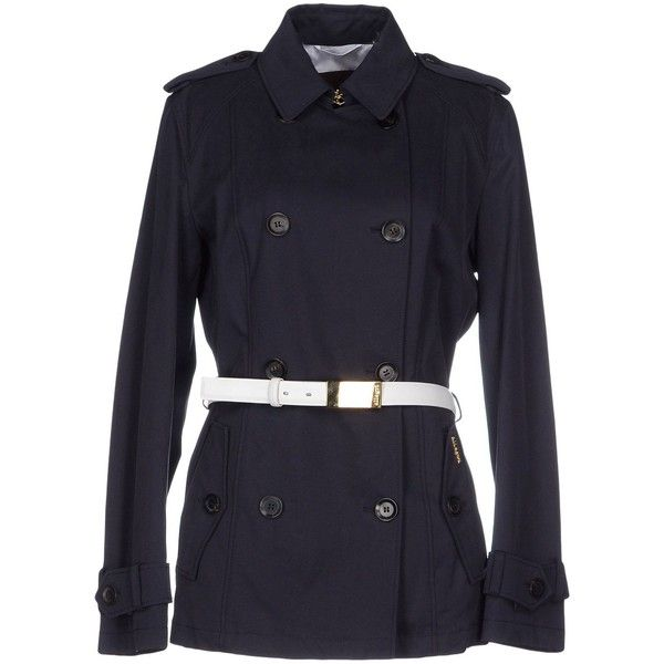 Allegri Full-length Jacket (£199) ❤ liked on Polyvore featuring outerwear, jackets, dark blue, button jacket, blue cotton jacket, dark blue trench coat, blue jackets and multi pocket jacket