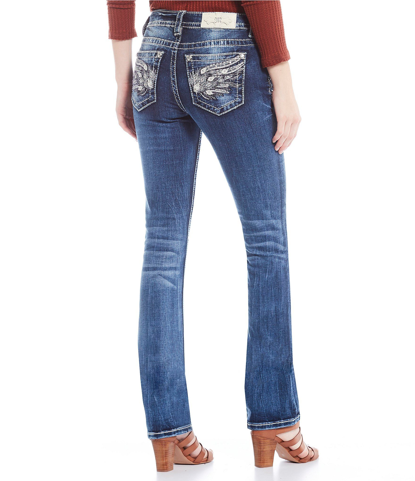 Miss Me Womens Mid-Rise Straight Leg Jeans with Faux Flap Embroidered Pocket