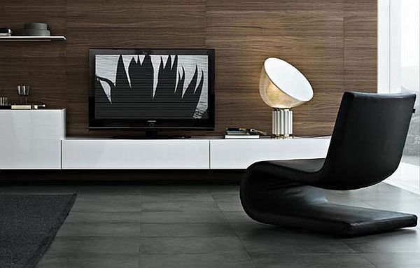 cool black and white tv wall units modular furniture small living room | Modular wall unit: Sintesi by Carlo Colombo | Living room ...