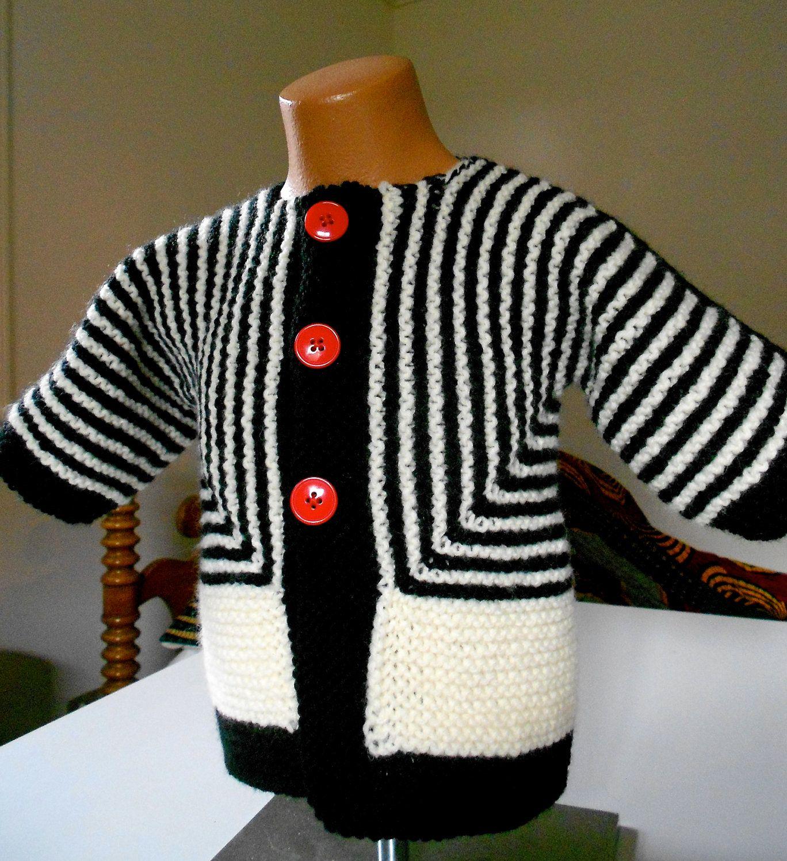 """Striped baby cardigan - """"Baby Surprise Jacket"""" - machine washable. $65.00, via Etsy."""