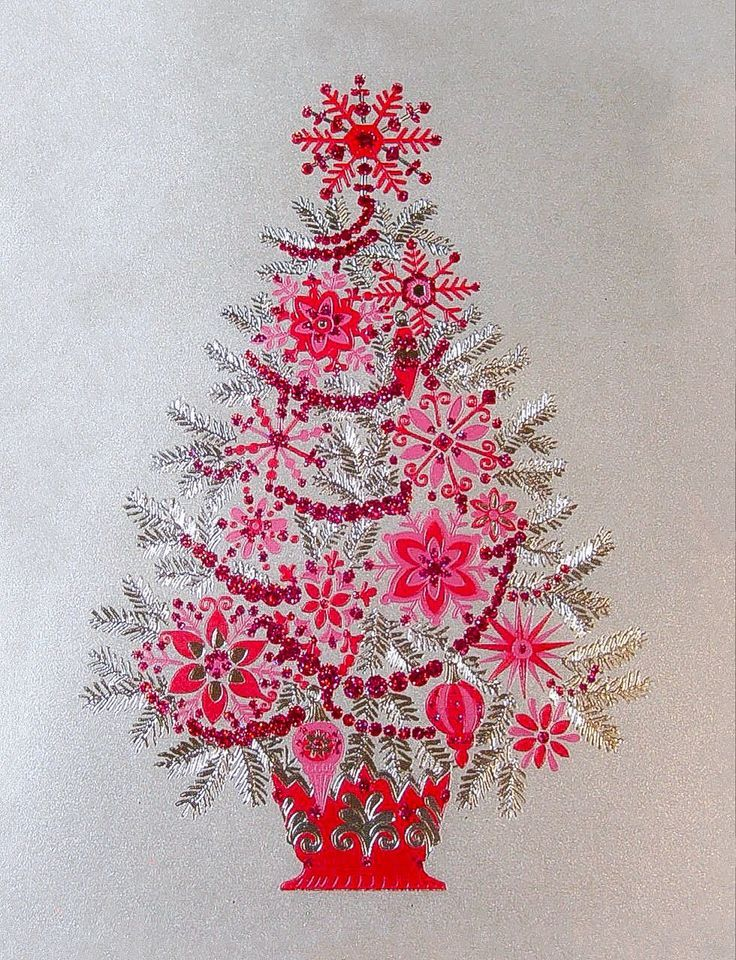 Unused Christmas Card Papyrus Hot Pink, Red & Silver Glittery ...