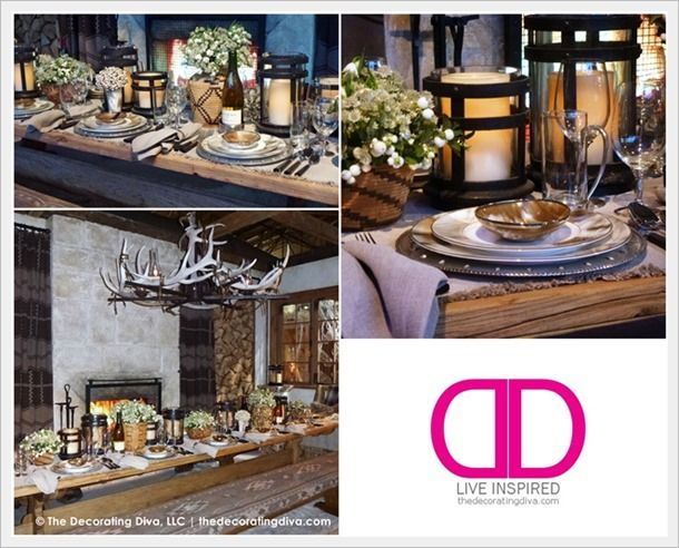 Fall Table Decorating Ideas: Ralph Lauren Rustic Lodge Inspired Table & Dining Room Decor | The Decorating Diva, LLC