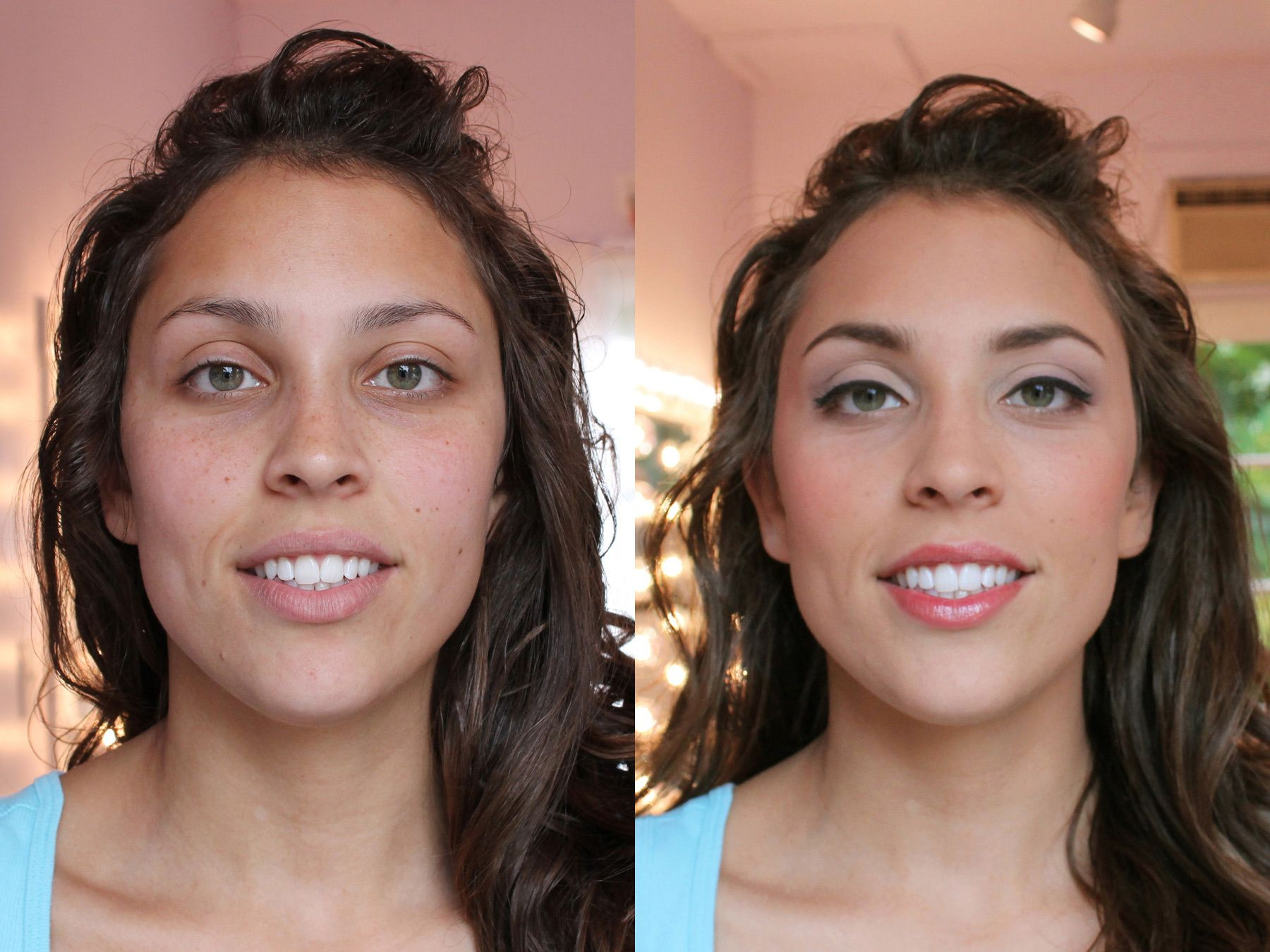 Betsy's Work Makeup before and after, Airbrush makeup