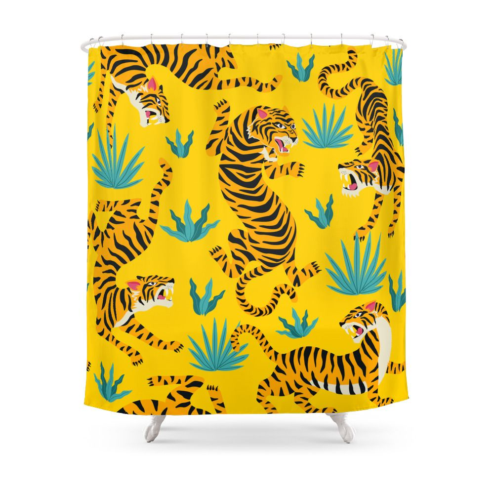 Yellow Tiger Tropical Pattern Shower Curtain By Nlmiller07art Yellow Shower Curtains Patterned Shower Curtain Designer Shower Curtains