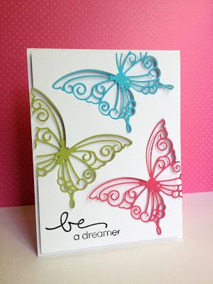 Great use for your butterfly dies. I really like how the filigree butterflies are lower than the white panel. You could easily do this in a monochromatic colour scheme or one that suits your theme or recipient.