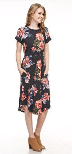 c5fc485681 Cute modest floral knee length dress with pockets. Trendy contemporary  fashion.