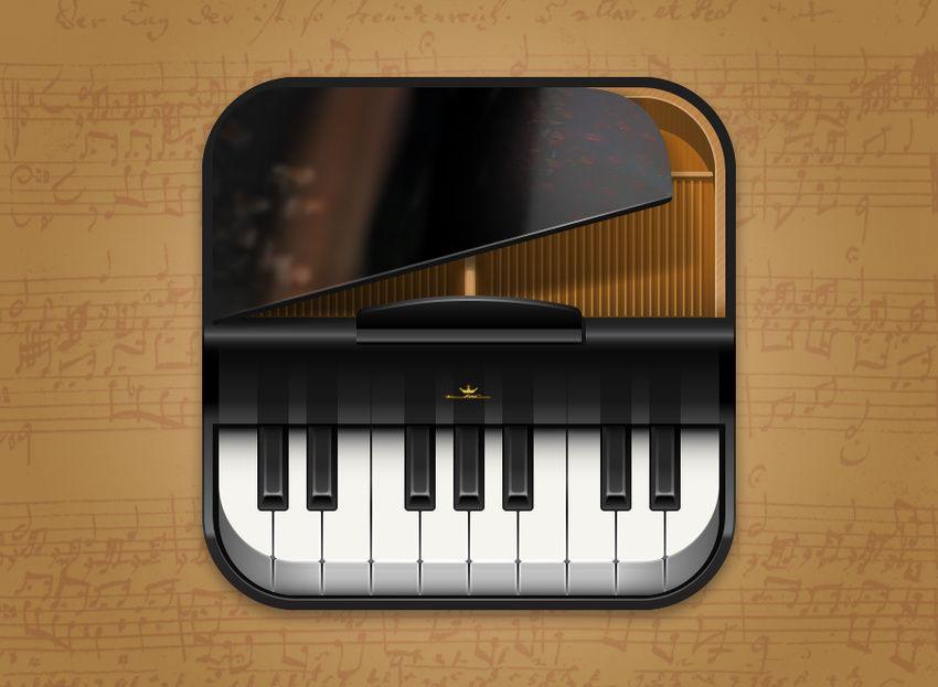 Piano iOS App Icon Design Krop Pluckt Ios app icon