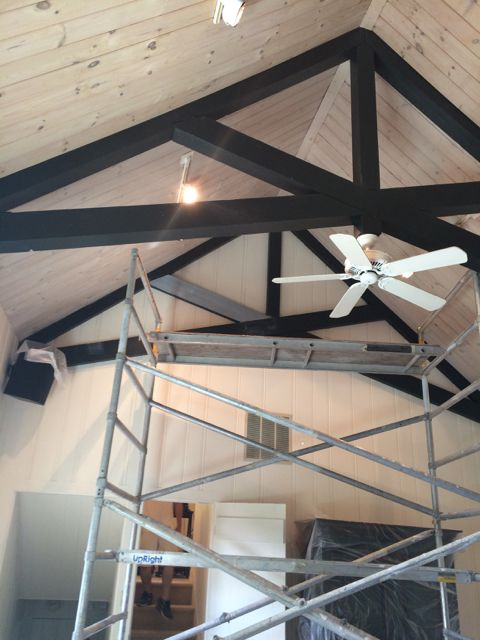 Painted Beams In Progress With The Still White Walls And