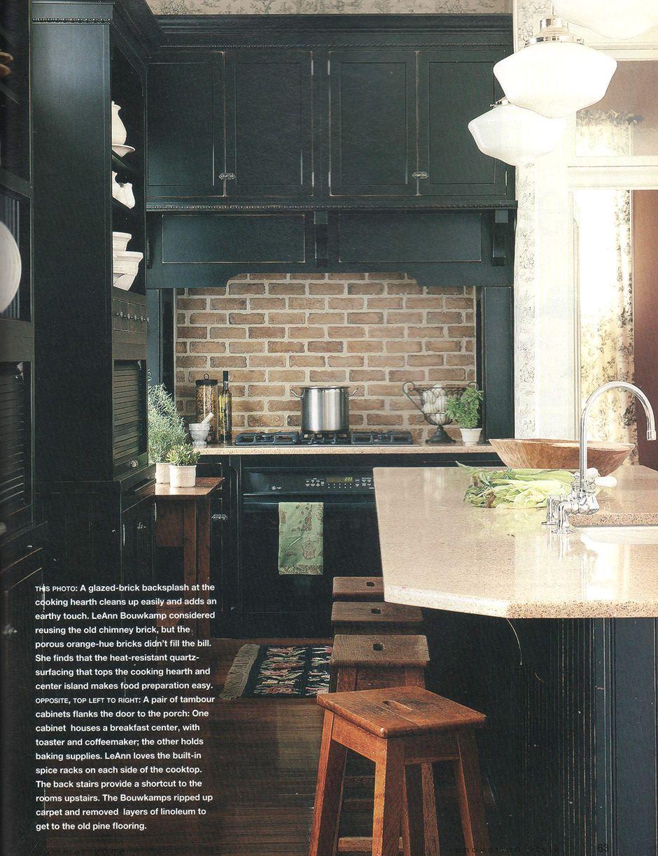 - Distressed Black Finish Kitchen Cabinets, Brick Stove Backsplash