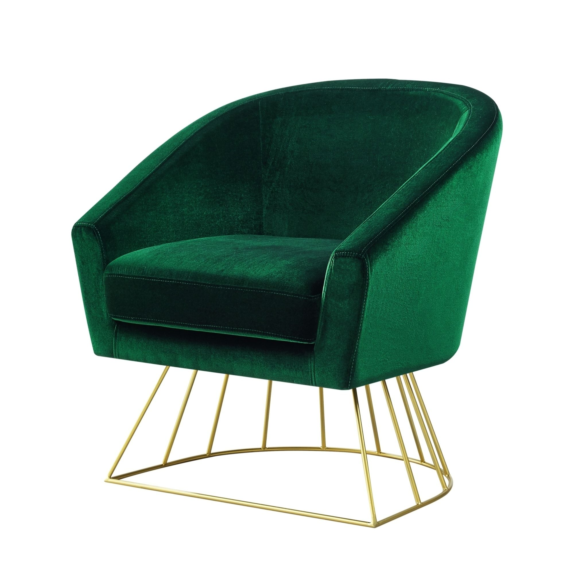 Inspired Home Velvet Accent Chair With Metal Base Green