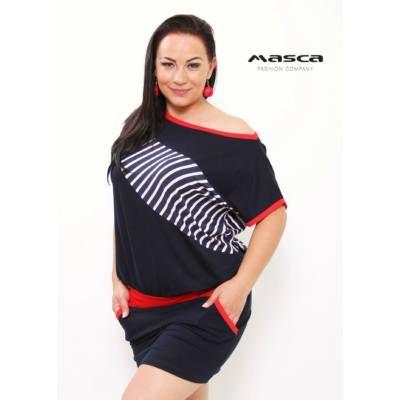 933a64cb6b Masca Fashion vállra húzható csónaknyakú lezser zsebes sötétkék tunika,  miniruha, csíkos és piros betéttel