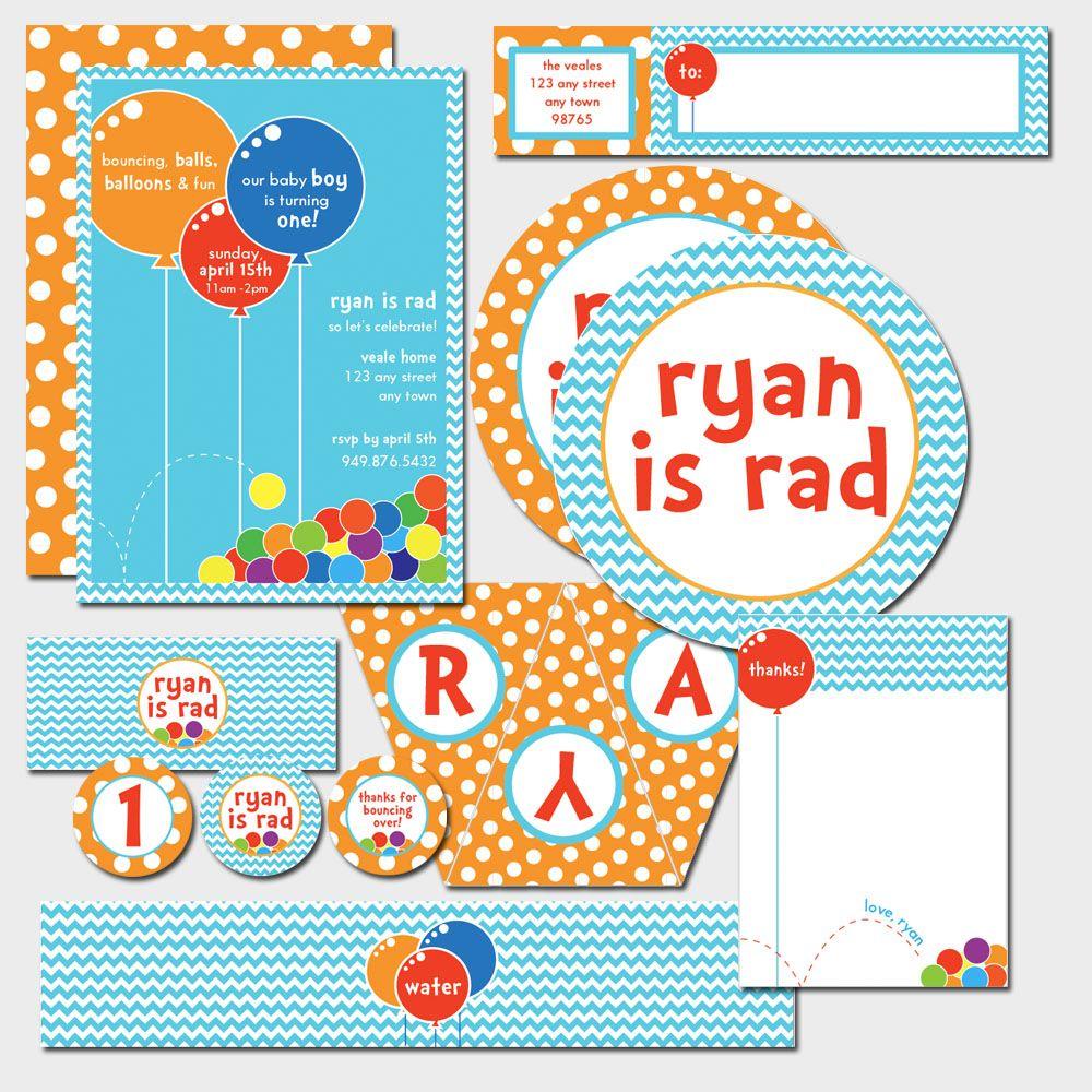 Ball and balloon theme printables birthday party | Party Ideas ...