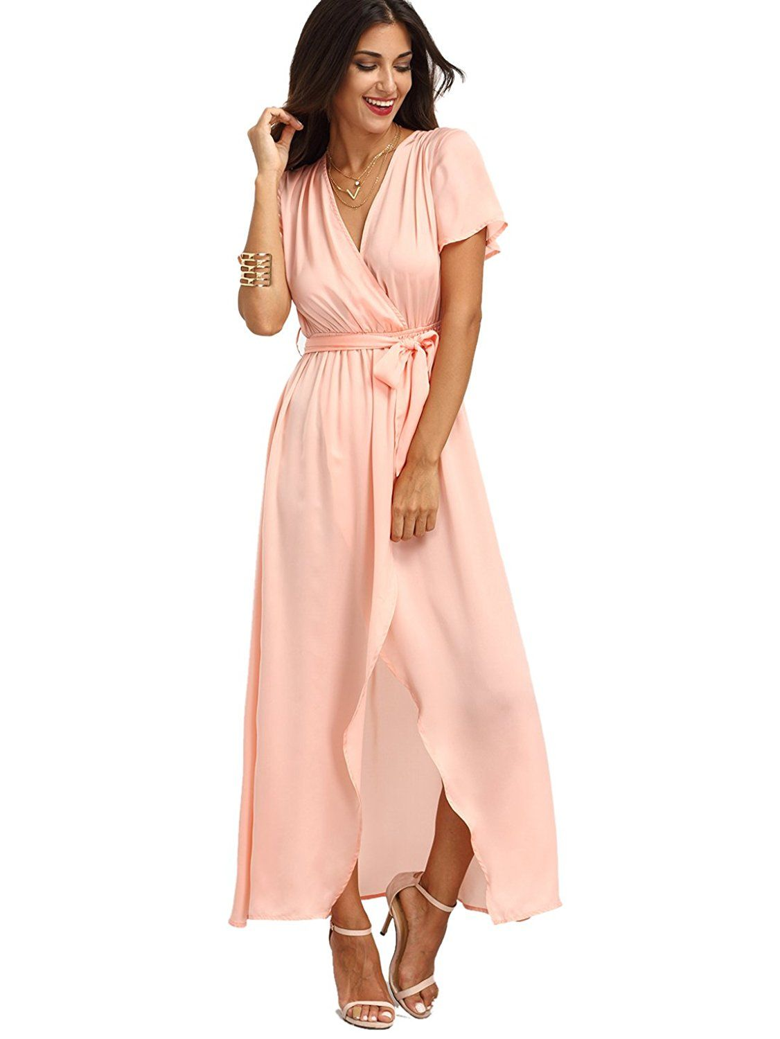 6fa3f2192 ROMWE Women's Bohemian Short Sleeve V neck Long Beach Wrap Maxi Dress at  Amazon Women's Clothing store: