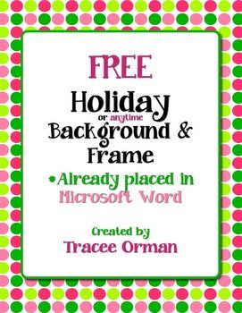 free holiday borders for word documents  Free Holiday (or anytime) Colors Polka Dots Clip Art Frame in Word ...