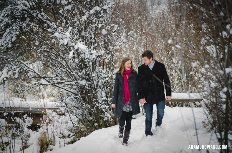 Portrait photograph of young couple in jackson hole winter snow winter wonderland