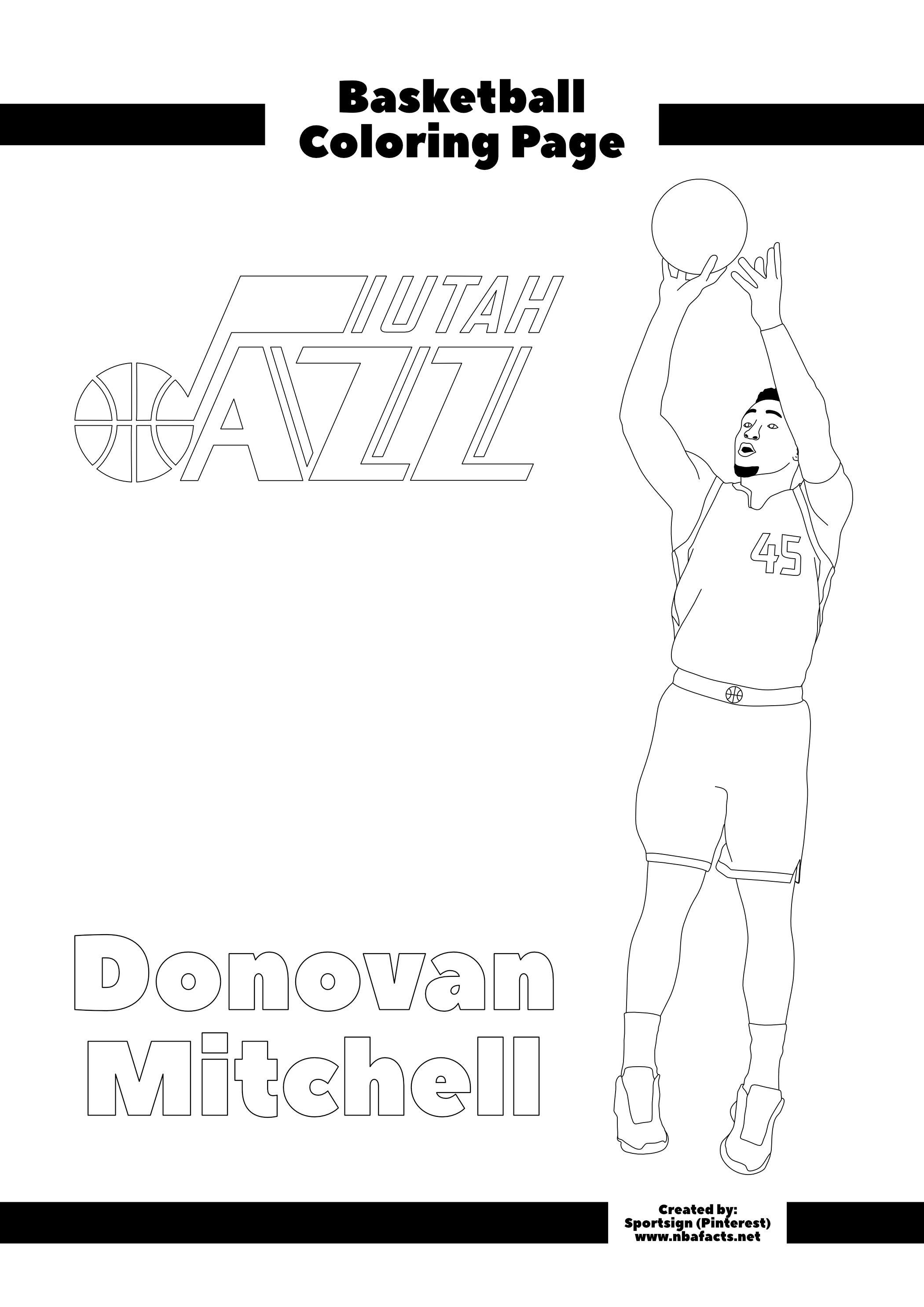 Donovan Mitchell Free Nba Kids Coloring Sheet Coloring For Kids Coloring Sheets For Kids Donovan Mitchell