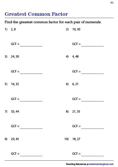 Greatest Common Factor Worksheet Greatest Common Factors Common Factors Free Printable Math Worksheets