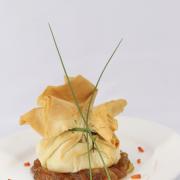 Filo pastry with patato and La Vache qui rit    Source: http://www.mijnreceptenboek.nl/recept/voorgerechten/briouats-van-filodeeg-met-aardappel-en-kaas-6350.html#
