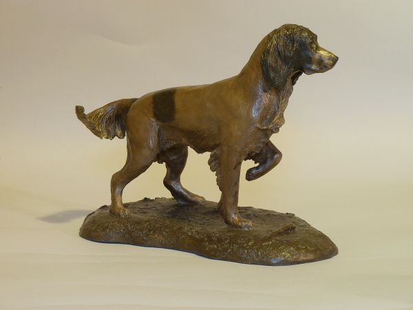 Bronze resin Dog sculpture by artist Nicholas Collins titled: 'Young Springer Spaniel (Little Standing English Gun Dog statuette)'
