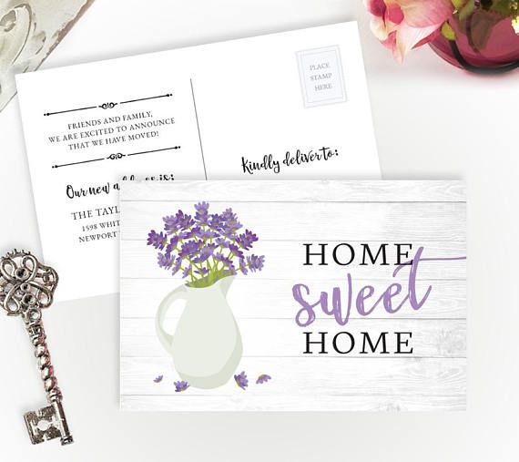 printed moving announcements with lavender and home sweet home