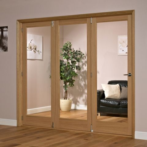 Lockwood 1 Panel Shaker 1 Lite Oak Veneer Glazed Internal Trifold Door Lh H 2035mm W 2146mm