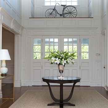 Chic Traditional Foyer Entrance Design With Sisal Rug Espresso