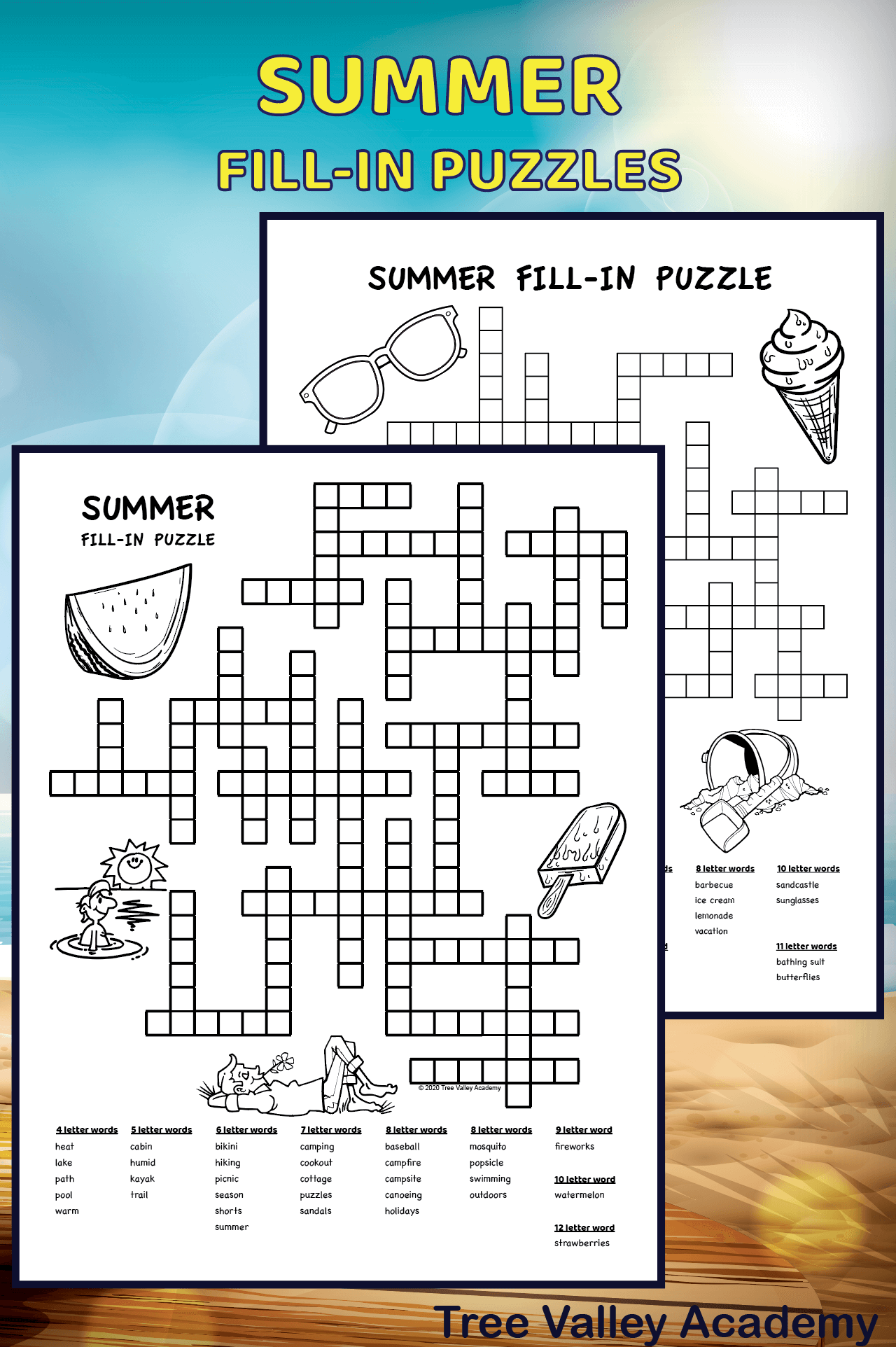 Summer Fill In Puzzles For Kids In