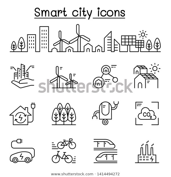 Smart City Sustainable Town Eco Friendly Stock Vector Royalty Free 1414494272 Smart City City Icon Floating City