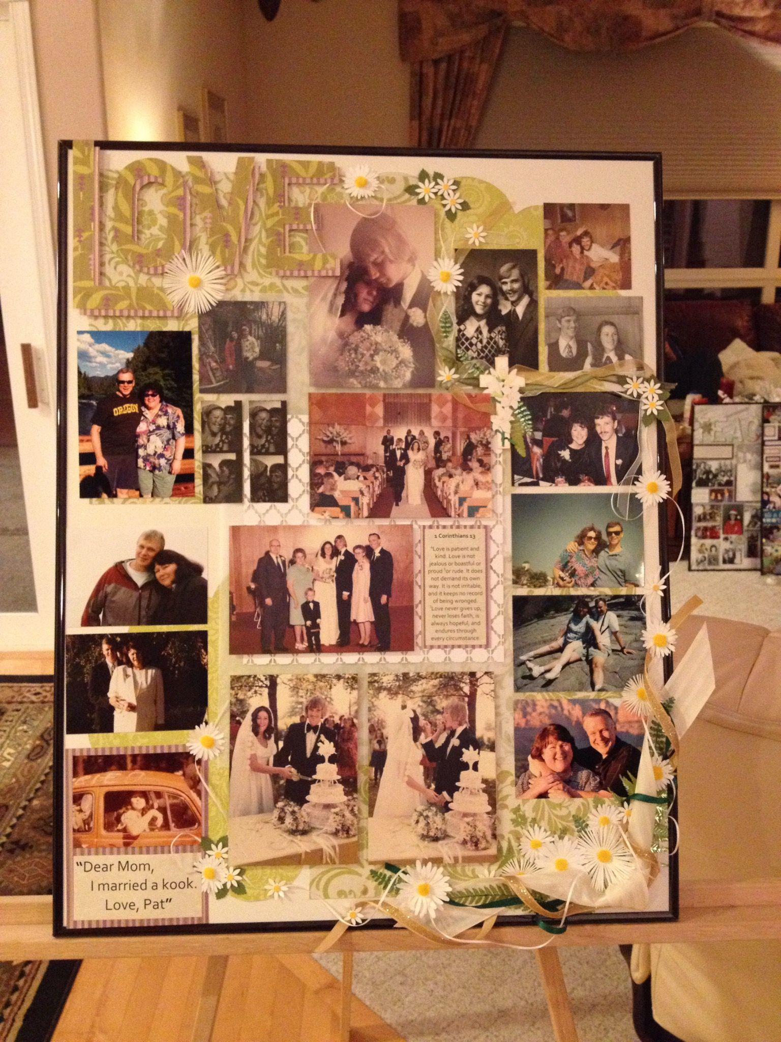 Make a memory board out of family photos and scrapbooking materials