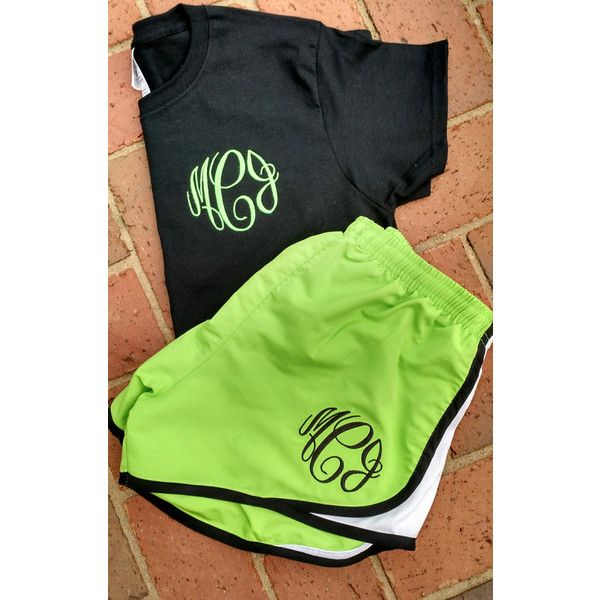 Monogrammed Running Shorts and Matching T-Shirt Set Monogram Athletic... ($25) ❤ liked on Polyvore featuring activewear, activewear shorts, black and women's clothing