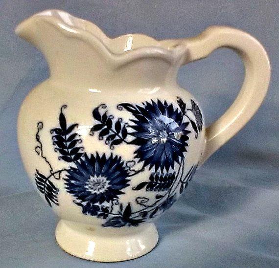 Antique 1930's Japanese  Delft Vase Blue Flowers