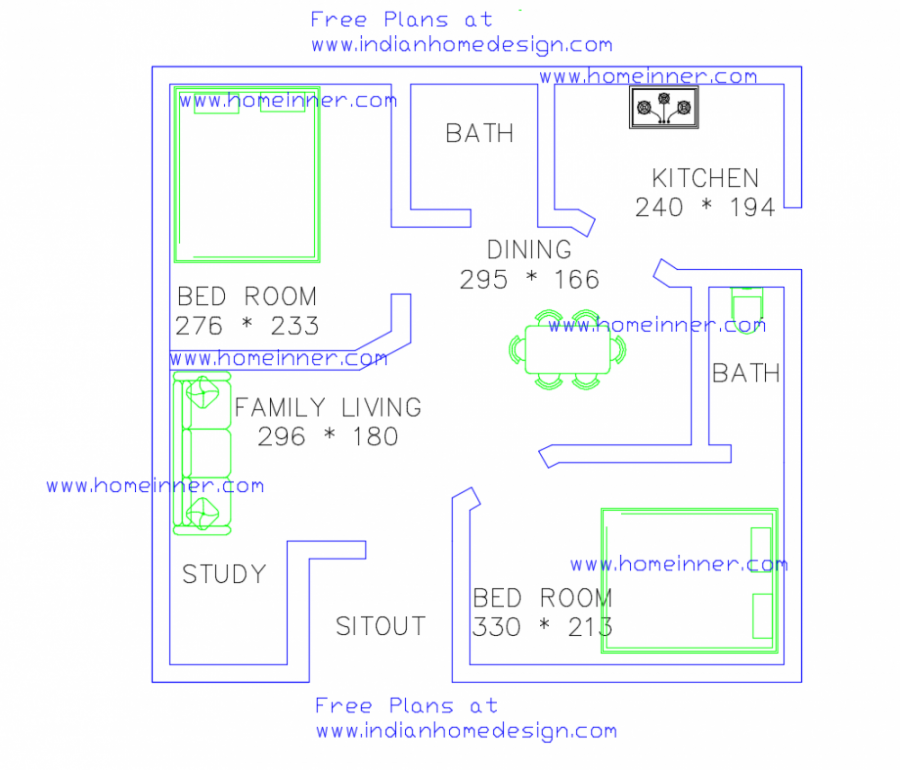 2 Or 3 Bhk Flat Interior Designing Cost In Kolkata: Free Low Cost 2 Bedroom 470 Sq Ft House Plan 2 Cent Land