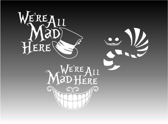 Mad Tea Party Cheshire Cat Alice In Wonderland Were All Mad Here Mad Hatter Initial and Birthstone Crystal Lewis Carroll