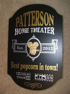 Personalized Custom Us Made Wood Signs Home Theater Decor Movie Sign Cinema