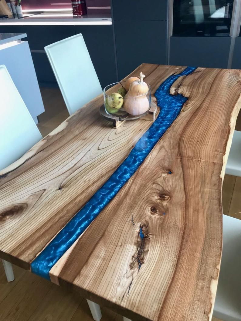 Live Edge Dining Blue River Table Made In A Modern Rustic Etsy Live Edge Dining Table Dining Table In Kitchen Unique Dining Tables