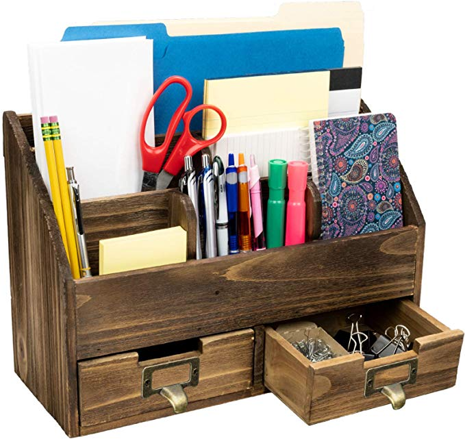 Amazon Com Rustic Wood Office Desk Organizer Includes 6 Compartments And 2 Dr Amazoncom Comp In 2020 Desk Organization Office Desk Organization Wood Office Desk