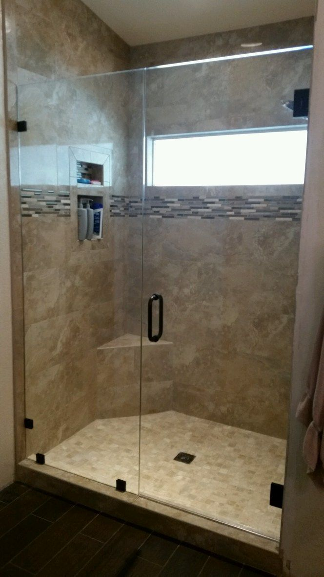 3 8 Frameless Shower Door With Inline Panel Frameless Shower