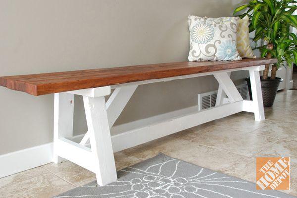 DIY Project: Farmhouse Bench - The Home Depot | Farmhouse bench ...
