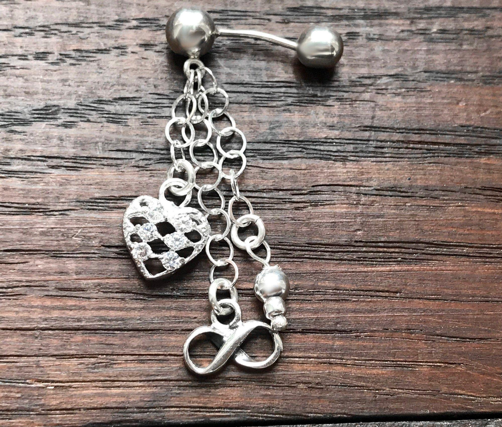 Piercing nombril argent long à breloques   Piercing nombril argent, Bijoux argent et Argent