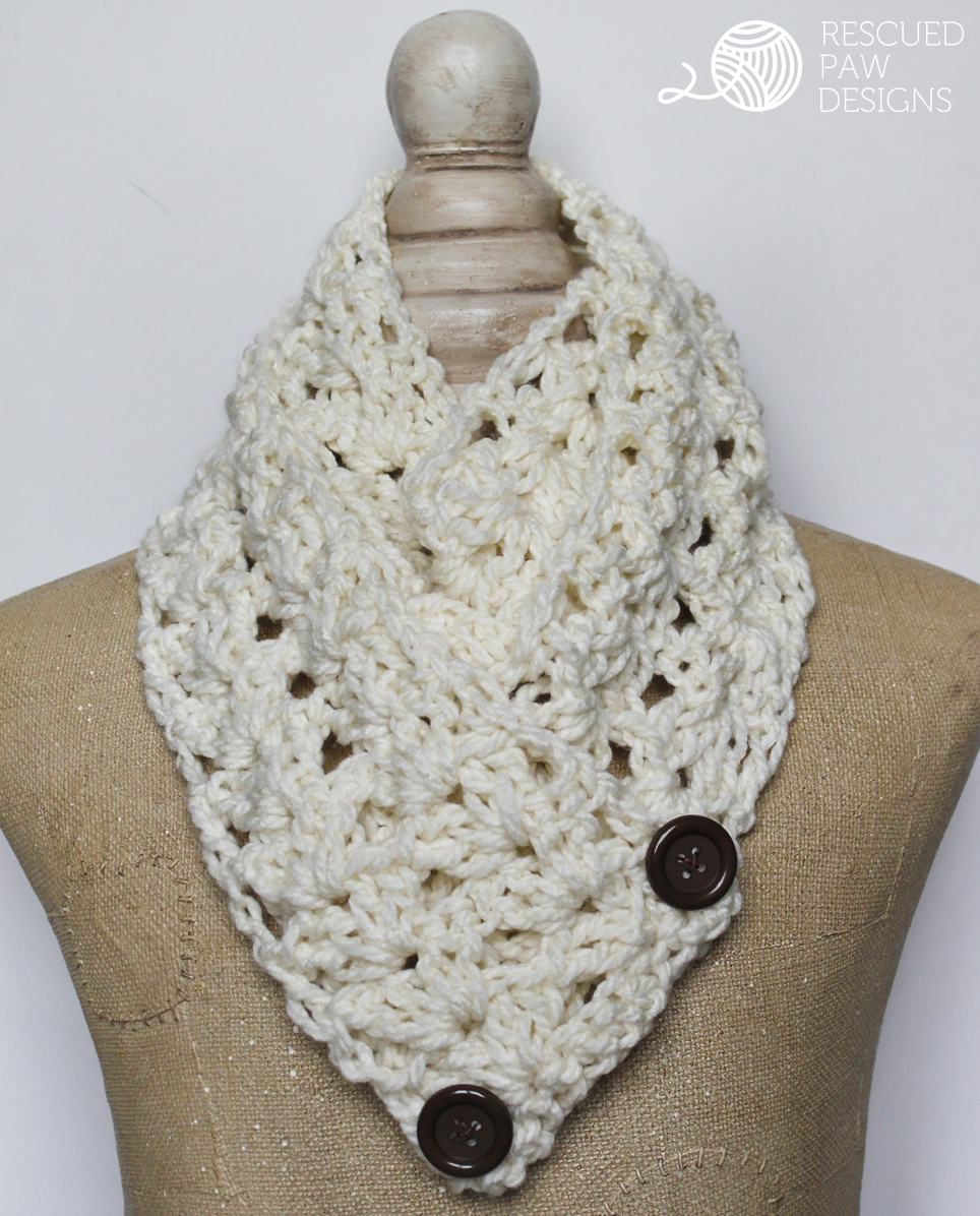 "The ""Victoria"" Button Crochet Scarf Pattern 