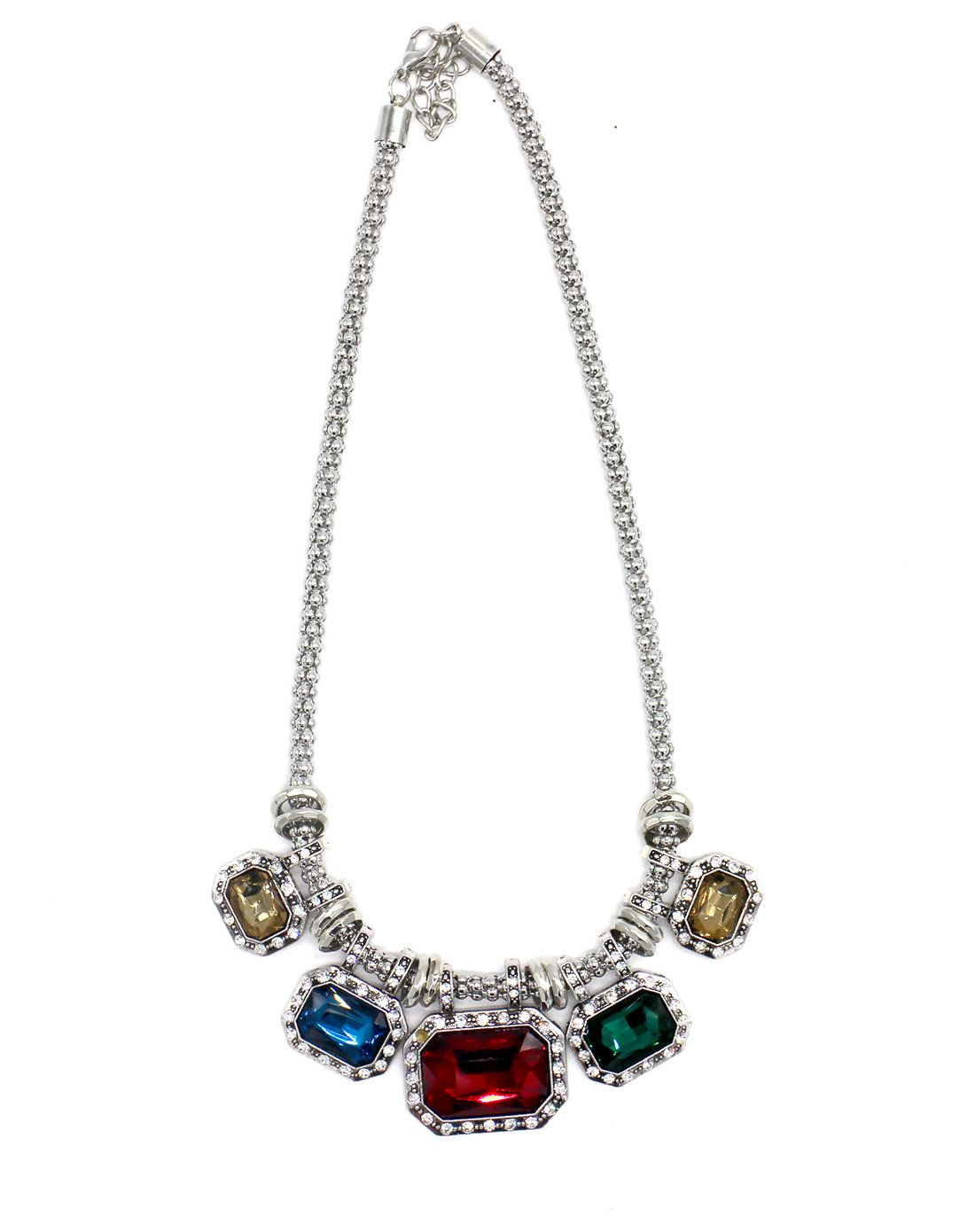 #AdoreWe #VIPme Necklaces - FOBISON Multicolor Squared Rhinestone Chain Statement Necklace - AdoreWe.com