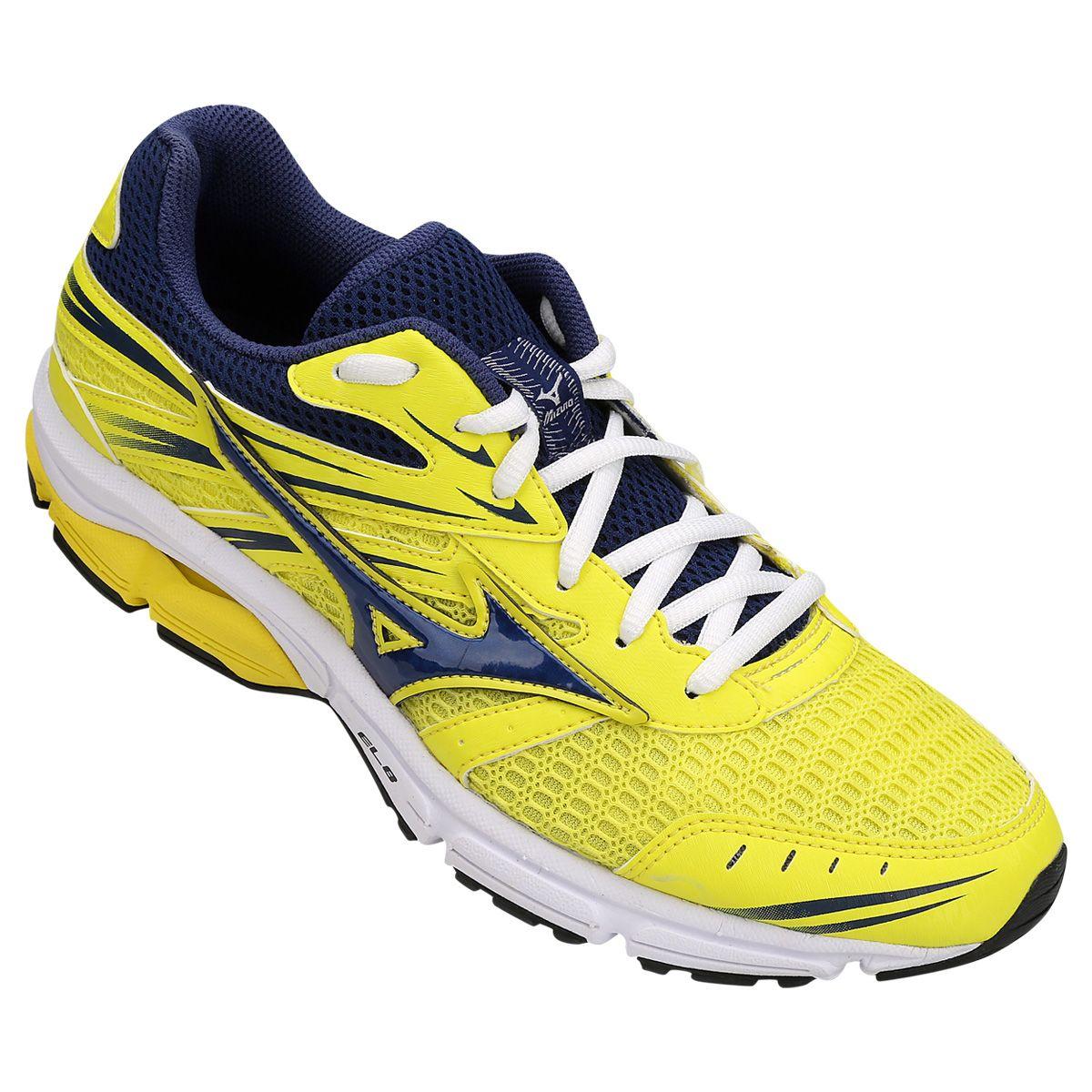 0f71c0d8551ca Tênis Mizuno Wave Zest Masculino - Amarelo e Azul | Comprinhas