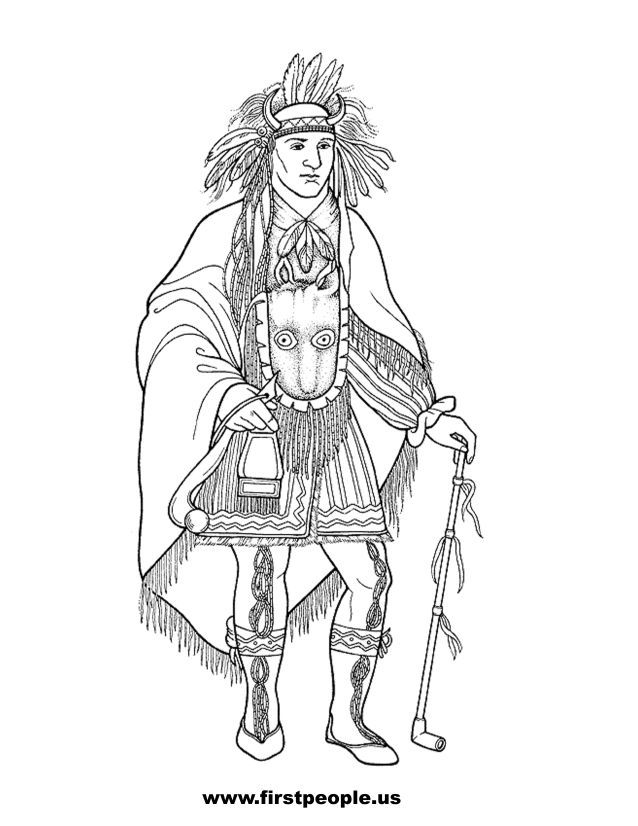 okee makee quid  clipart to color in.  native american